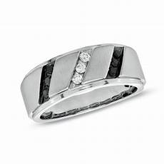 men s 1 3 ct t w enhanced black and white diamond slant wedding band in sterling silver size
