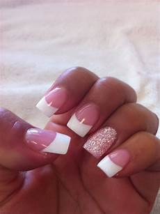 french nails with glitter ring finger french nail