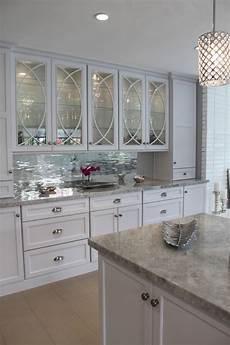 mirrored tiles backsplash kitchen white
