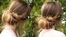 chignon hairstyle tutorial soft updo braidsandstyles12 youtube