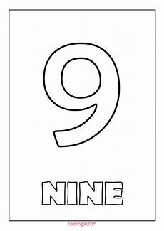 Number Nine Coloring Printable Number 9 Nine Coloring Page Pdf For