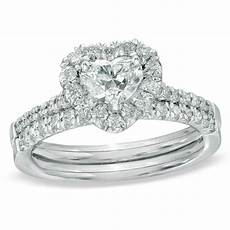 5 8 ct t w heart shaped diamond frame bridal in 14k
