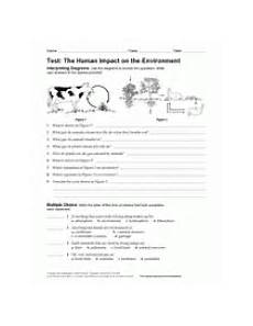 concepts and challenges science worksheets 13435 the human impact on the environment test teachervision