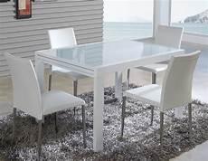 table design verre table extensible design m 233 tal blanc et verre tremp 233 blanc