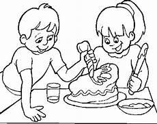 Malvorlagen Mandala Cake Zwei Kinder Die Schokoladenkuchen Verzieren Malvorlagen