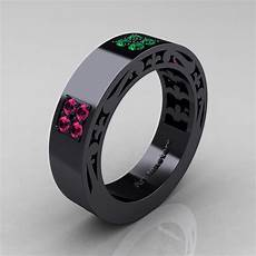 mens modern vintage 14k black gold pink sapphire emerald wedding band r474m 14kbgemps art