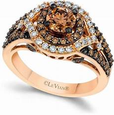 le vian chocolate and white diamond engagement ring in 14k rose gold 1 3 8 ct t w 2157765