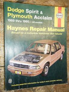 plymouth acclaim 1989 1995 repair service manual download manuals 1989 1995 dodge spirit plymouth acclaim haynes repair manual service workshop ebay