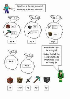 minecraft maths money worksheet key stage 1 year 2 higher