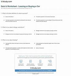 quiz worksheet leasing or buying a car study com