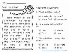 winter reading comprehension passages first grade by