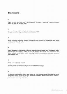 brainteasers 2 worksheet free esl printable worksheets made by teachers