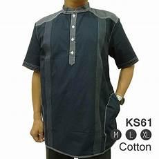 jual baju muslim bordir minimalis lengan pendek ks61 navy promo idulfitri muslim