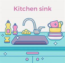 kitchen sink with kitchenware stock vector illustration of lifestyle faucet 80211590