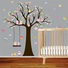 nursery tree decal with owls birds swing butterflies wall