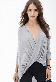 best of twisted lyst forever 21 twist front knit top in gray