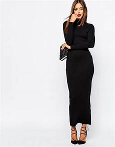 sleeve maxi dress rash lyst missguided high neck sleeve maxi dress in black