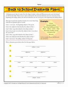 writing poetry worksheets middle school 25325 back to school diamante poem worksheet elementary school back to school poem poems about