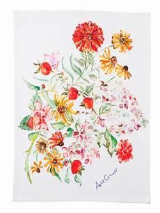 Kitchen Towel Bouquet by Zinnia Bouquet Watercolor Tea Towel By April Cornell