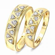 1 3 carat t w diamond his and hers wedding band 10k yellow gold my trio rings wb137y10k