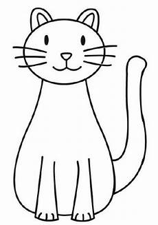 a simple drawing of cat coloring page play color