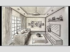 Drawing A Living Room In One Point Perspective Time lapse