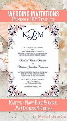kaitlyn wedding invitation coral navy wedding invitation kits diy wedding invitation kits