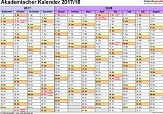 kalender 18 monate akademischer kalender 2017 2018 als excel vorlagen