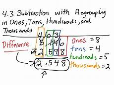 subtraction with regrouping in hundreds tens and ones worksheets 10668 4 3 subtraction by regrouping in ones tens hundreds and thousands math elementary math 3rd