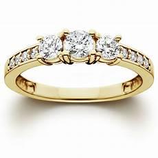 1 ct 3 stone diamond engagement ring 10k yellow gold ebay
