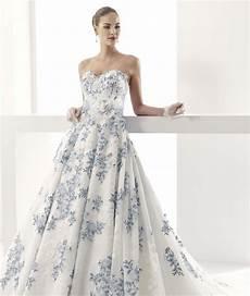 blue and white wedding gown vintage applique wedding dress