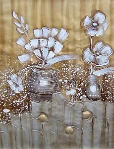 tableau abstrait fleurs blanches fleur blanche peinture