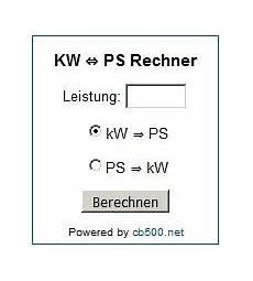 Kw Ps Umrechnen Cb500 Net
