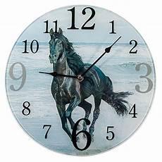 gro 223 e glas wanduhr black 216 30cm pferde uhr