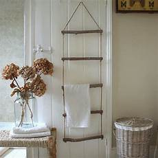 shabby chic wooden rope ladder towel rail rack bathroom