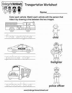 free printable transportation worksheet for kindergarten