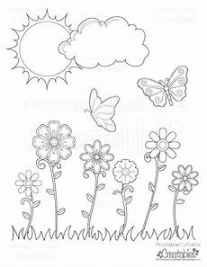 flowers butterflies printable coloring page