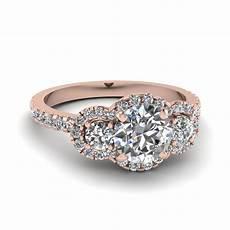 cut three stone halo diamond engagement ring in 18k rose gold fascinating diamonds