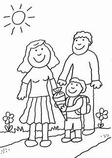 Schule Und Familie Ausmalbild Drucken Ausmalbild Einschulung Schulkind Mit Eltern Kostenlos