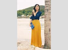 navy chiffon blouse, long mustard pleated skirt   My Style