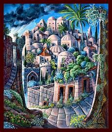 jerusalem canvas by rabbi itzchak bezanson the holy city in a artist painting