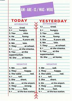verb to be am are is was were worksheet
