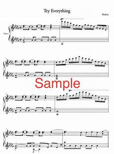piano music sheet piano solo try everything from zootopia difficulty high