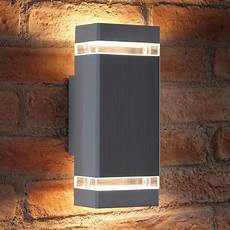 auraglow outdoor double up down wall light chilton silver auraglow led lighting