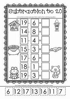 cut and paste subtraction worksheets for kindergarten cut and paste subtraction to 20 twenty worksheets