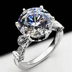 4 carat genuine white gold big stone fabulous synthetic diamond wedding ring for fine