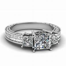engraved 1 50 ct princess cut three diamond engagement ring in 14k white gold