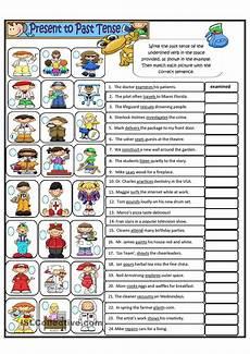 spelling present tense verbs worksheets 22603 simple present tense to simple past tense regular verbs