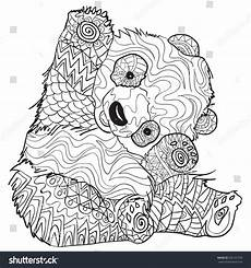 coloring pages panda illustration stock vector