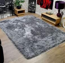 modern shaggy thick 9cm soft touch silver grey rug